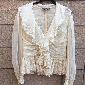 Ralph Lauren cream lace top